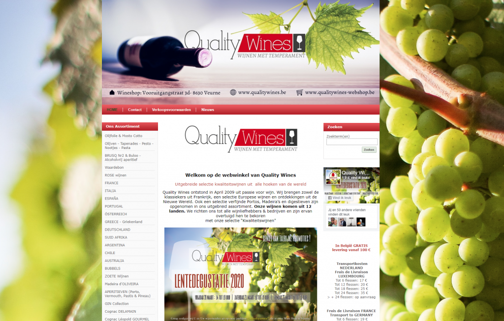 Webshop Quality Wines Veurne